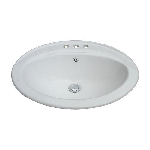 洗面ボウル 3穴 陶器 埋め込み オーバル オーバーフロー有り W570×D455×H205 INK-0401019H