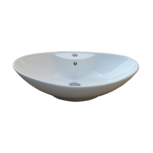 洗面ボウル 陶器 楕円 手洗い鉢 オンカウンターシンク オーバーフロー有り W640×D430×H213 品番INK-0401032H