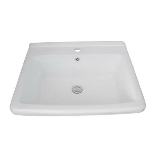 洗面ボウル 陶器 角型 シンク 埋め込み オーバーフロー有り W600×D475×H245 INK-0402012H