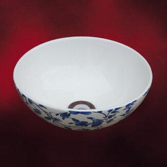 陶器洗面ボウル(手洗い鉢・ボール・オンカウンターシンク・花柄)W280×D280×H120INK-0403208H