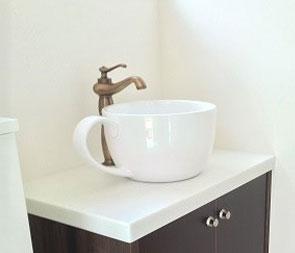 洗面ボウル おしゃれ コーヒーカップ 小 手洗い鉢 オーバーフロー無し W410×D310×H185 INK-0403132H