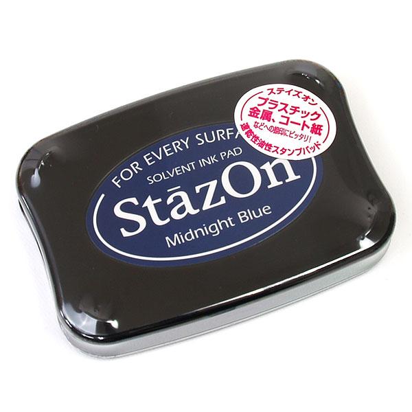 ツキネコ・ステイズオン・ミッドナイトブルー・Tsukineko・StazOn・Midnight Blue[SZ-62]・盤面:76×47mm・本体:99×68×19mm(ゴム印用スタンプ台)