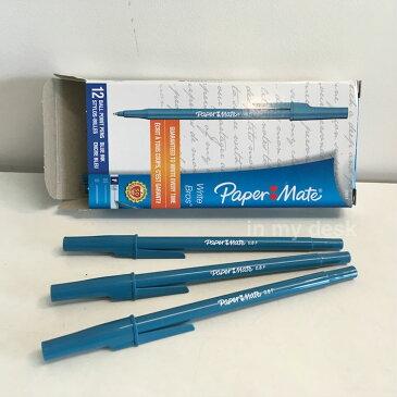 Write Bros, Blue set 3 】アメリカの カッコよくて 書きやすい 3本セット ブルー インク 青 MEDIUM POINT インク太 中字 1.0mm スタイリッシュ 滑らか 書き味 ペーパーメイト ボールペン Paper Mate,