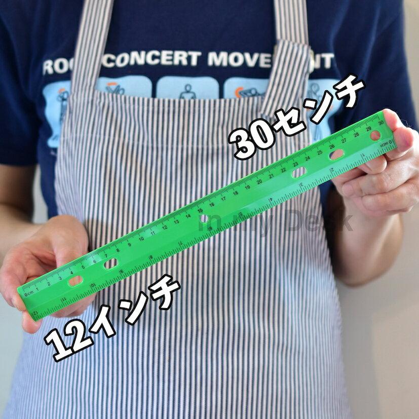 *アメリカ直輸入*PlasticRulerインチセンチ定規30センチ12インチものさしルーラープラスチックブルーグリーンレッドイエローメール便発送