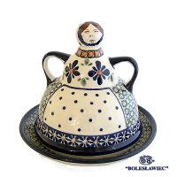 [Boleslawiec/ボレスワヴィエツ陶器]チーズレディ(チーズ/ケーキ皿)-du60