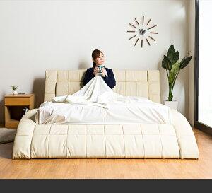 クイーンサイズベッド送料無料開梱設置ポケットコイルマットレス付きクイーン高級おしゃれかわいい低反発ラテックスピロートップホテル仕様ホーリーカーブカーブフレーム曲線クイーンベッドクイーンサイズ白クリームマットレスセット