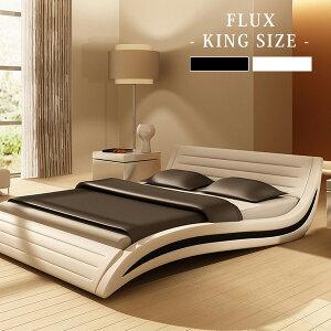 ベッド高級おしゃれホワイトポケットコイルマットレス付きホテル仕様フラックスキングサイズ
