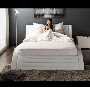 【送料無料】{ベッドマットレス付き}ベッドポケットコイルマットレス付きフラックスダブルサイズ高級おしゃれホワイト低反発ホテル仕様USフルサイズ高反発マットレスセットベッドフレーム曲線カーブカーブフレーム