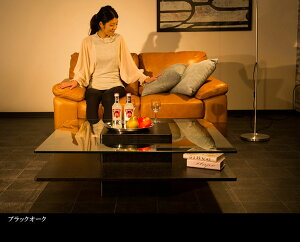 コーヒーテーブル100cmガラスウォールナットブラックオーク突板ガラス天板センターテーブルクリアガラスおしゃれ高級北欧オーク材スタイリッシュモダンシンプル木製hk22a【送料無料】