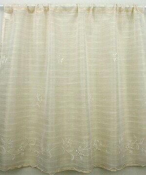 ミルナー カフェカーテン 幅120x90cm[ナチュラル 刺繍 エンブロイダリー ベージュ フレンチ 目隠し]