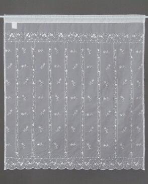 【メール便対応OK!】ホワイトシシュウ 小窓カーテン 幅85x丈90cm【スーパーセール】