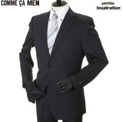 コムサメン スーツ ストライプスーツ COMME CA MEN 紺 0712sk14-09 メンズ 紳士 ビジネス