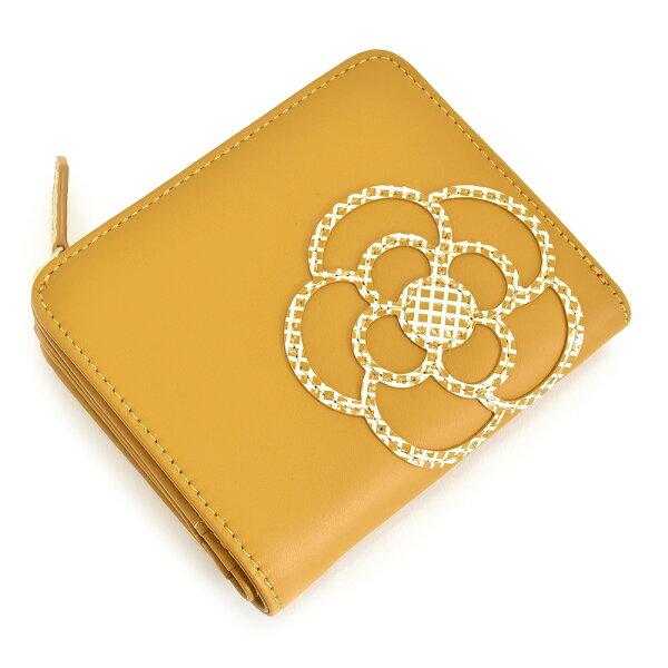 クレイサス財布二つ折り財布L字ファスナーマスタードCLATHAS188332-65レディース婦人