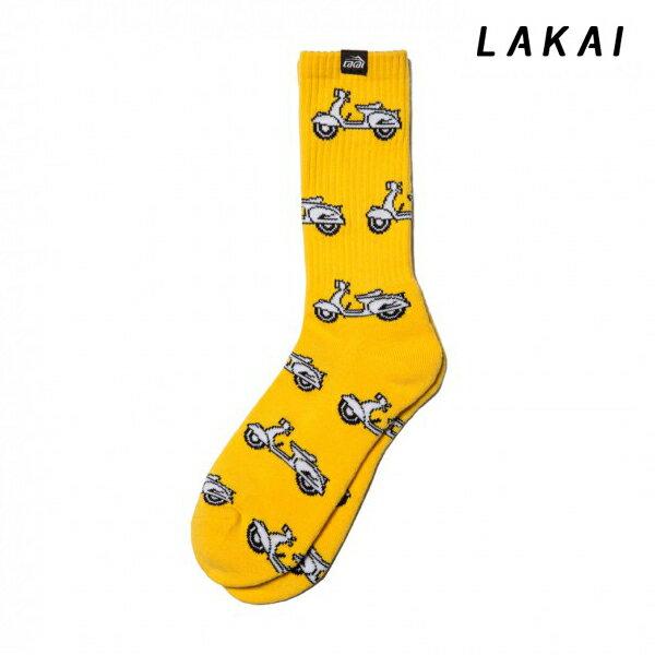 【LAKAI】SCOOTER CREW SOCKS カラー:yellow 【ラカイ】【スケートボード】【靴下/ソックス】