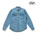 【DQM】DENIM CPO SHIRT JACKET カラー:washed indigo【ディーキューエム】【スケートボード】【CPOシャツ】【ジャケット】