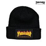 【THRASHER】FLAME LOGO BEANIE カラー:black【スラッシャー】【スケートボード】【帽子/ビーニー】