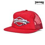 【THRASHER】DIAMOND EMBLEM TRUCKER CAP カラー:red 【スラッシャー】【スケートボード】【帽子/キャップ】