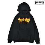 【THRASHER】FLAME LOGO HOOD カラー:black 【スラッシャー】【スケートボード】【フード/プルオーバー】