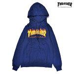 【THRASHER】FLAME LOGO HOOD カラー:navy 【スラッシャー】【スケートボード】【フード/プルオーバー】