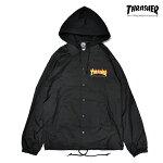 【THRASHER】FLAME COACH JACKET カラー:black 【スラッシャー】【スケートボード】【ジャケット】