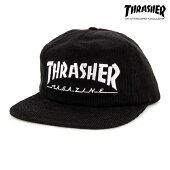 【THRASHER】MAGAZINE LOGO CORDUROY SNAPBACKカラー:black 【スラッシャー】【スケートボード】【キャップ】