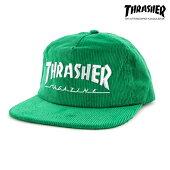 【THRASHER】MAGAZINE LOGO CORDUROY SNAPBACKカラー:green 【スラッシャー】【スケートボード】【キャップ】