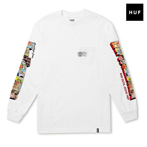 【HUF】GREETINGS L/S POCKET TEE カラー:white 【ハフ】【スケートボード】【Tシャツ/ロングスリーブ】