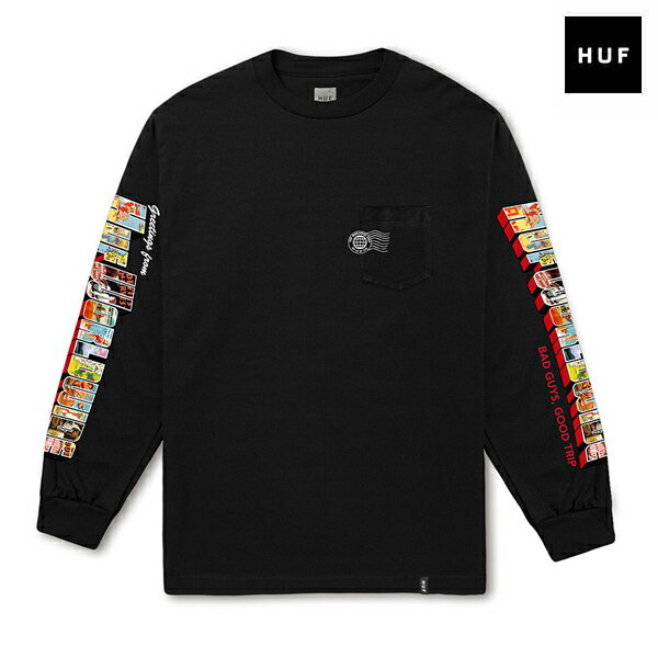 【HUF】GREETINGS L/S POCKET TEE カラー:black 【ハフ】【スケートボード】【Tシャツ/ロングスリーブ】