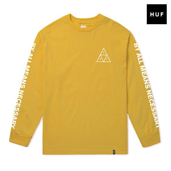 【HUF】ESSENTIALS TT L/S TEE カラー:mineral yellow 【スケートボード】【Tシャツ/長袖】