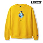 【BUTTER GOODS】DOWN WE GO CHAMPION CREWNECK カラー:yellow バターグッズ スウェット クルーネック スケートボード スケボー SKATEBOARD