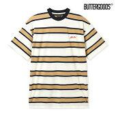 【BUTTER GOODS】PINE STRIPE TEE カラー:tan/navy バターグッズ Tシャツ 半袖 スケートボード スケボー SKATEBOARD