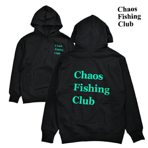 【Chaos Fishing Club】LOGO HOOD カラー:black/green 【カオス フィッシング クラブ】【スケートボード】【フード/プルオーバー】