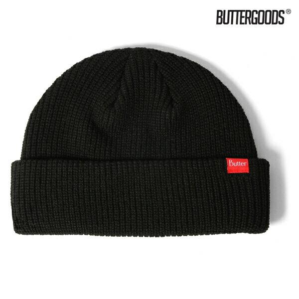 【BUTTER GOODS】WHARFIE BEANIE カラー:black 【バターグッズ】【スケートボード】【ビーニー/ニット帽】
