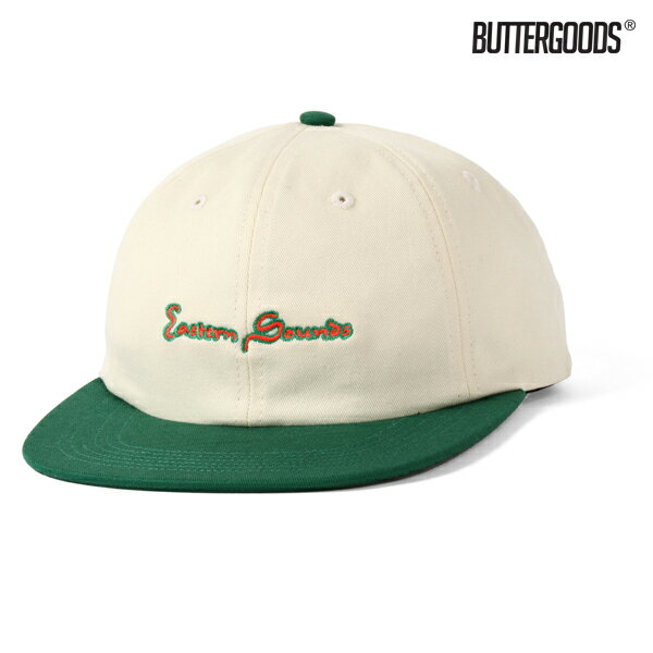 【BUTTER GOODS】EASTERN SOUNDS 6 PANEL CAP カラー:natural/green 【バターグッズ】【スケートボード】【キャップ/帽子】