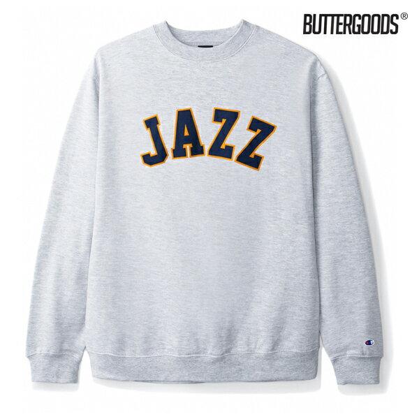 【BUTTER GOODS】JAZZ CHAMPION CREWNECK カラー:heather grey 【バターグッズ】【スケートボード】【クルーネック/スウェット】