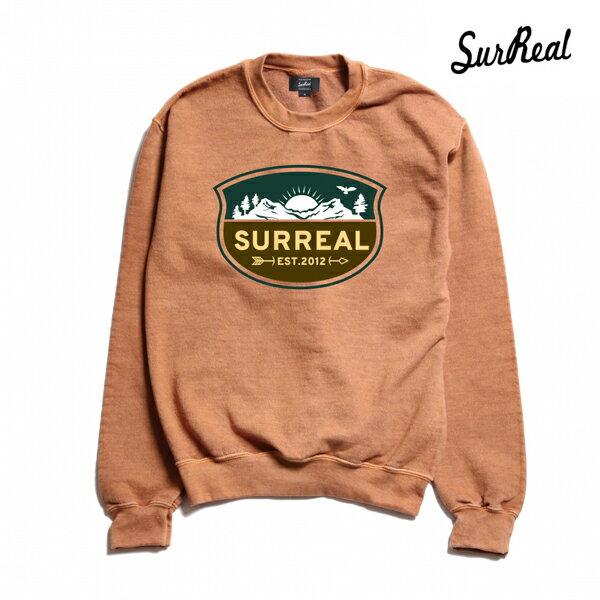 【SURREAL】BRUNO -Pigment Dye Sweat- カラー:brn 【シュルリアル】【スケートボード】【スウェット/クルーネック】
