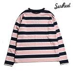【SURREAL】GORDON Dropped Shoulder L/S Classic Border T-Shirt カラー:pink シュルリアル ロングスリーブ Tシャツ スケートボード スケボー SKATEBOARD