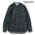 【TBPR/TIGHTBOOTH】 DENIM BAND COLLAR SHIRT カラー:black 【タイトブースプロダクション】【スケートボード】【シャツ/トップス】