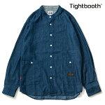 【TBPR/TIGHTBOOTH】 DENIM BAND COLLAR SHIRT カラー:indigo 【タイトブースプロダクション】【スケートボード】【シャツ/トップス】
