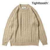 【TBPR/TIGHTBOOTH PRODUCTION】CABLE KNIT SWEATER カラー:beige 【タイトブースプロダクション】【スケートボード】【ニット/セーター】
