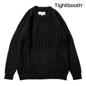 【TBPR/TIGHTBOOTH PRODUCTION】CABLE KNIT SWEATER カラー:black 【タイトブースプロダクション】【スケートボード】【ニット/セーター】