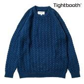 【TBPR/TIGHTBOOTH PRODUCTION】CABLE KNIT SWEATER カラー:blue 【タイトブースプロダクション】【スケートボード】【ニット/セーター】
