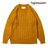【TBPR/TIGHTBOOTH PRODUCTION】CABLE KNIT SWEATER カラー:mustard 【タイトブースプロダクション】【スケートボード】【ニット/セーター】