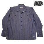 【BLUCO】STD WORK SHIRTS L/S カラー:navy stripe OL-109-017 【ブルコ】【スケートボード】【シャツ/長袖】