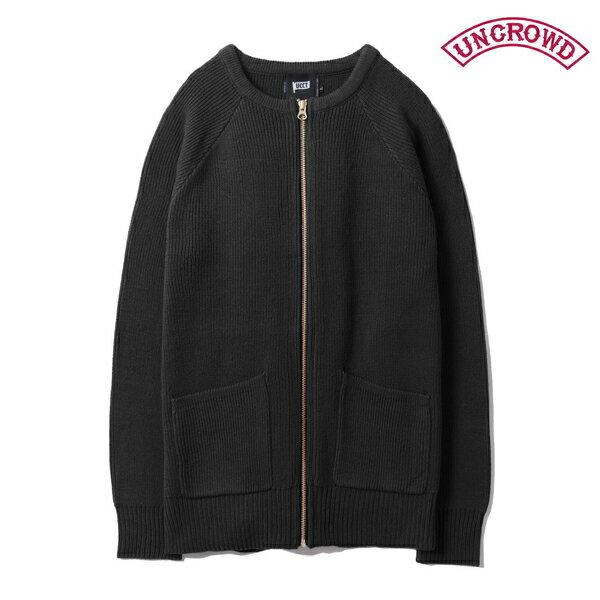 【UNCROWD】COMMANDO CARDIGANUC-502-018 カラー:black 【アンクラウド/ブルコ】【スケートボード】【ニット/カーディガン】