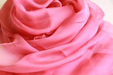 スカーフ シルク100% 大判 ストール マフラー シフォン 【紫みのピンク D】 Purplish pink ピンク 紫 ぶどう 絹 天然素材 敏感肌 紫外線防止 UV 防寒 コンパクト パーティー ドレス ショール 【Dサイズ:195×135cm】 敬老の日 ギフト