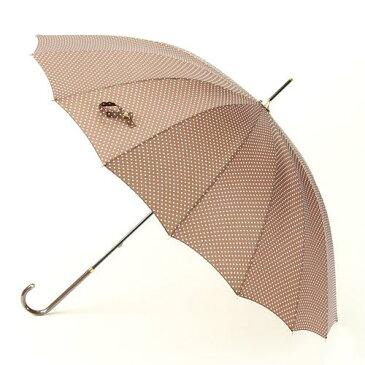 傘 16本骨 水玉 柄 長傘 茶