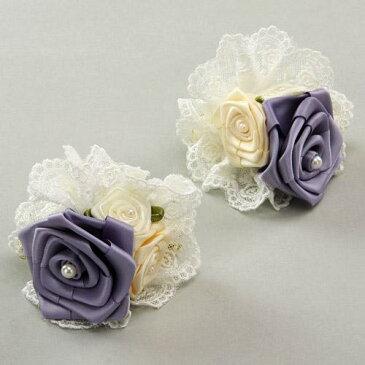 カーテン クリップ 薔薇 2個セット プリティローズ 紫