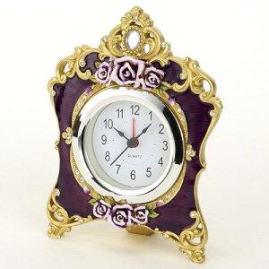 【置時計】【薔薇雑貨】置き時計 目覚まし おしゃれ ゴールドローズ パープル【楽ギフ_包装】【…