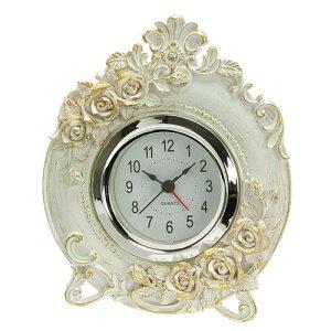 【置時計】【おしゃれ】置き時計 おしゃれ ホワイトローズ アラーム付き【楽ギフ_包装】【楽ギフ…